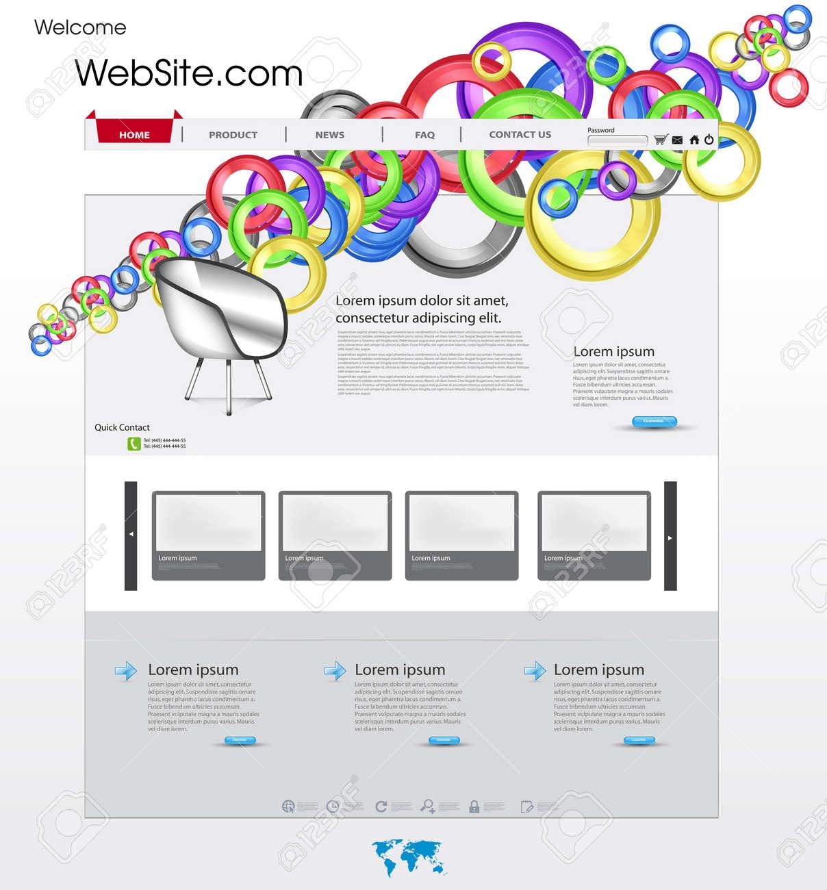 Plantilla De Página Web Con El Círculo De Colores Y Una Galería De ...
