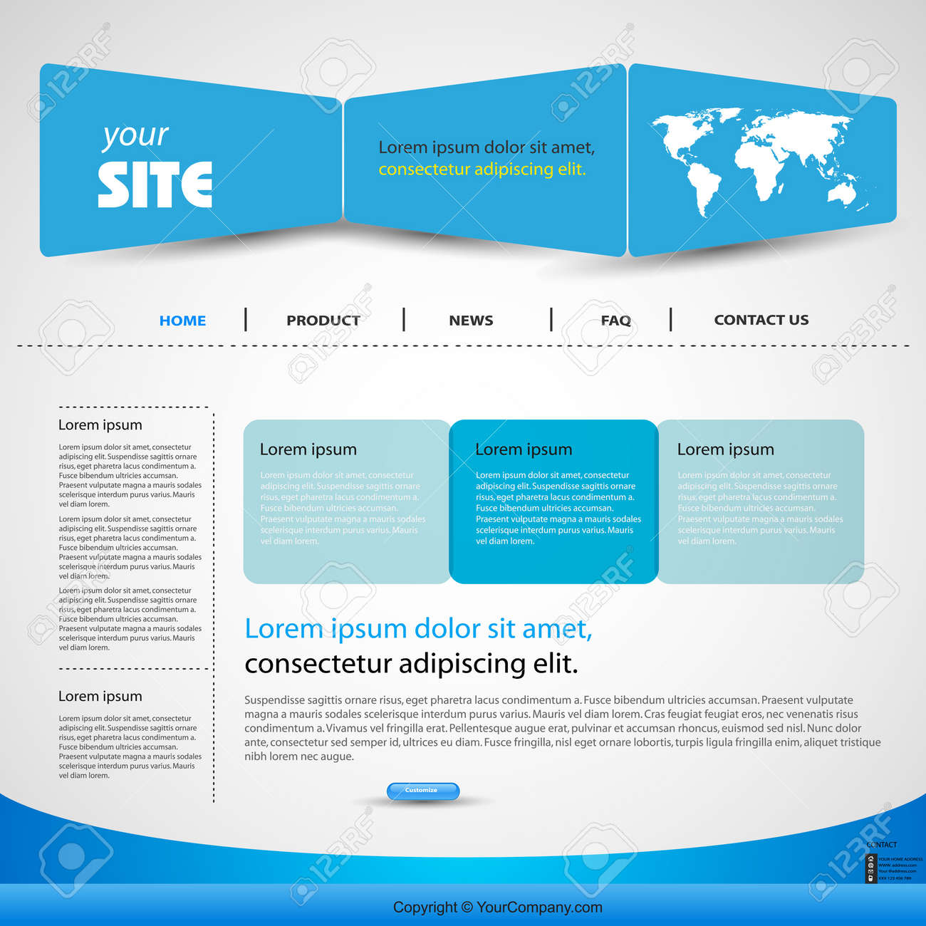Web Design Blue Template Easy Editable Royalty Free Cliparts