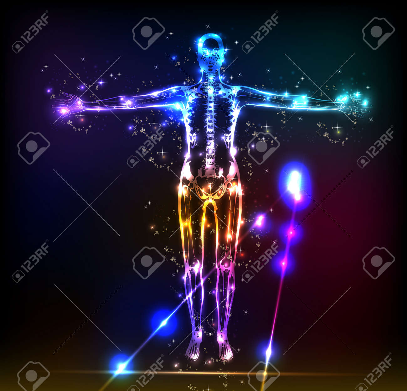 abstract human body background neon design - 12978651