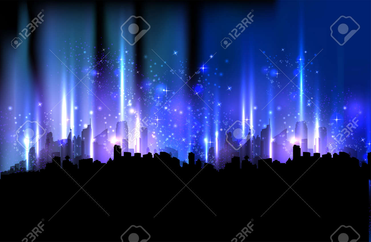 Colorful night city, light design background Stock Vector - 12978646