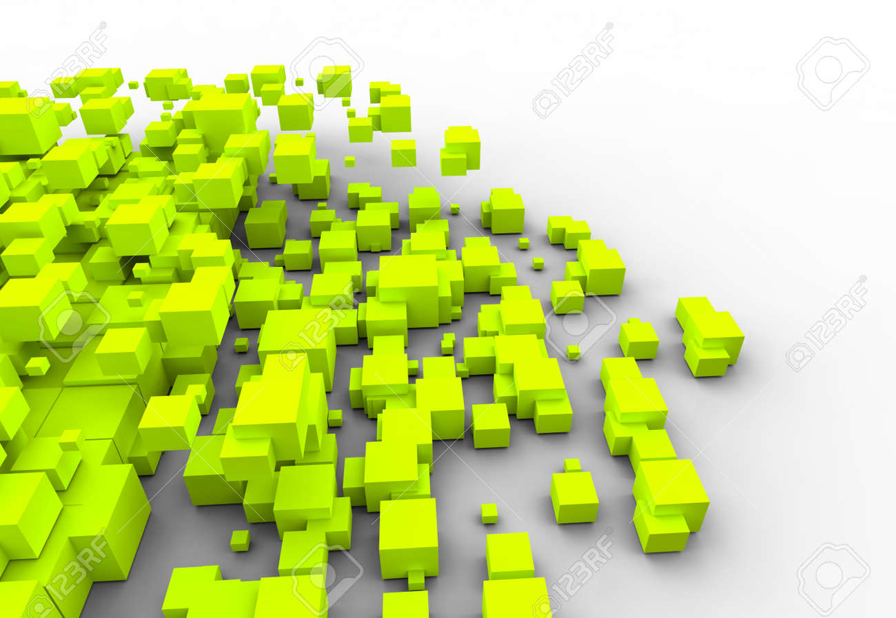 Three-dimensional design from color blocks Stock Photo - 13591830