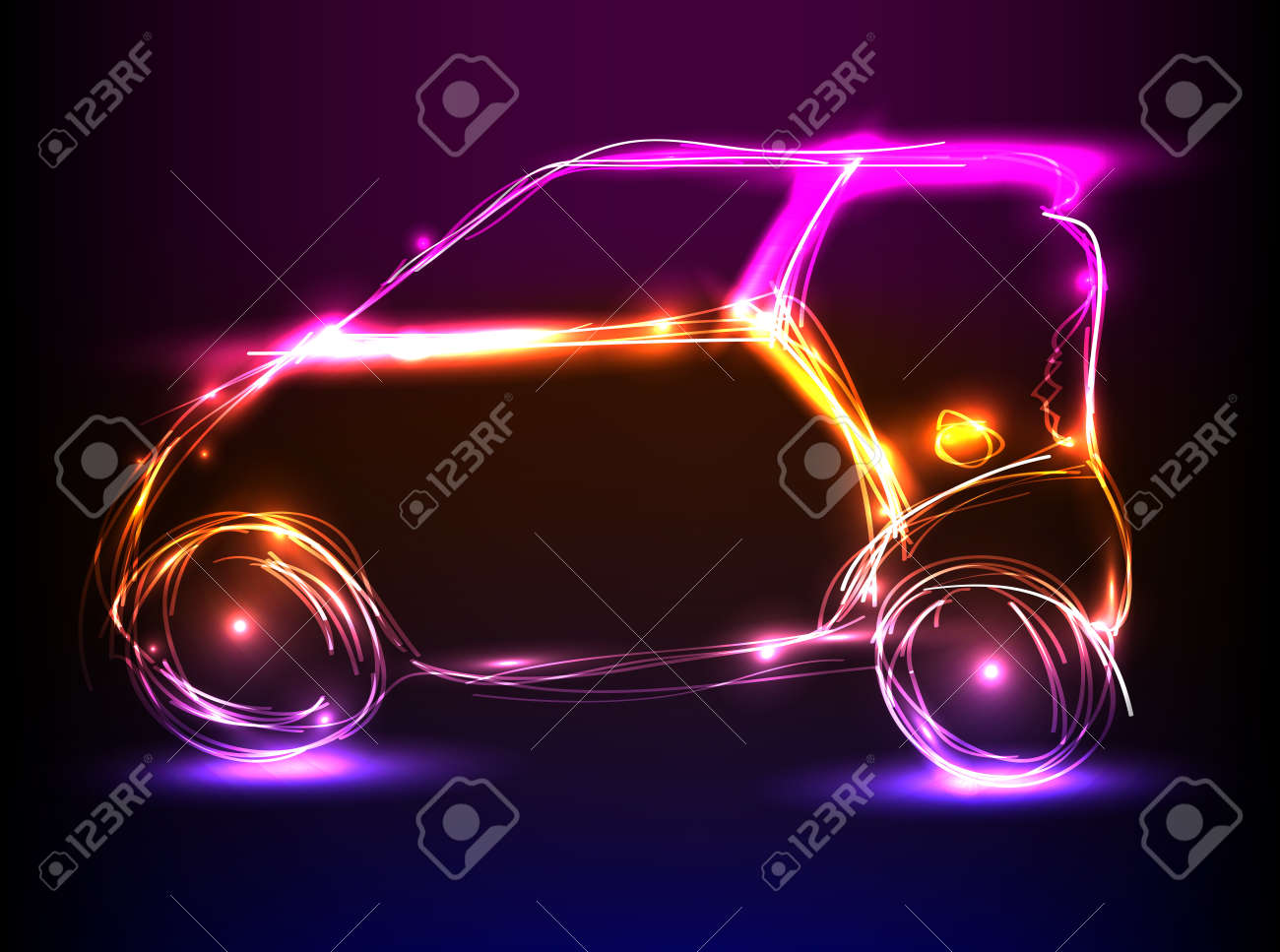 Car neon light design royalty free cliparts vectors and stock