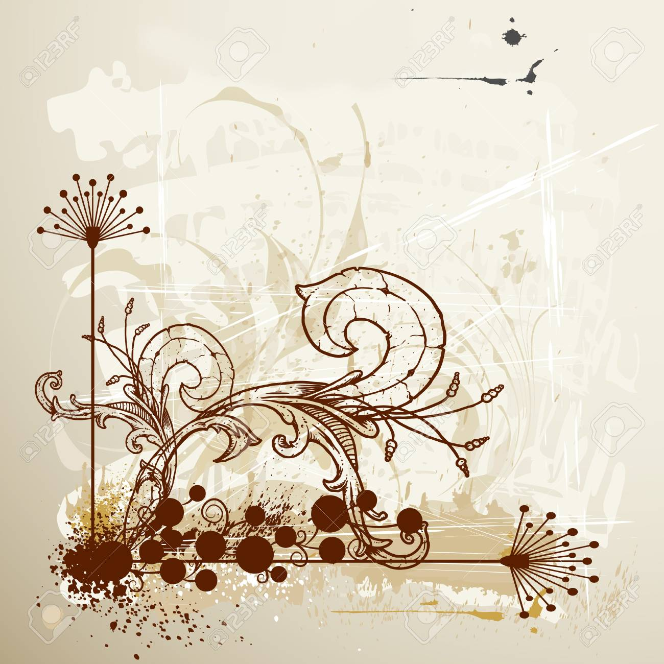 Grunge floral background Stock Vector - 15660370