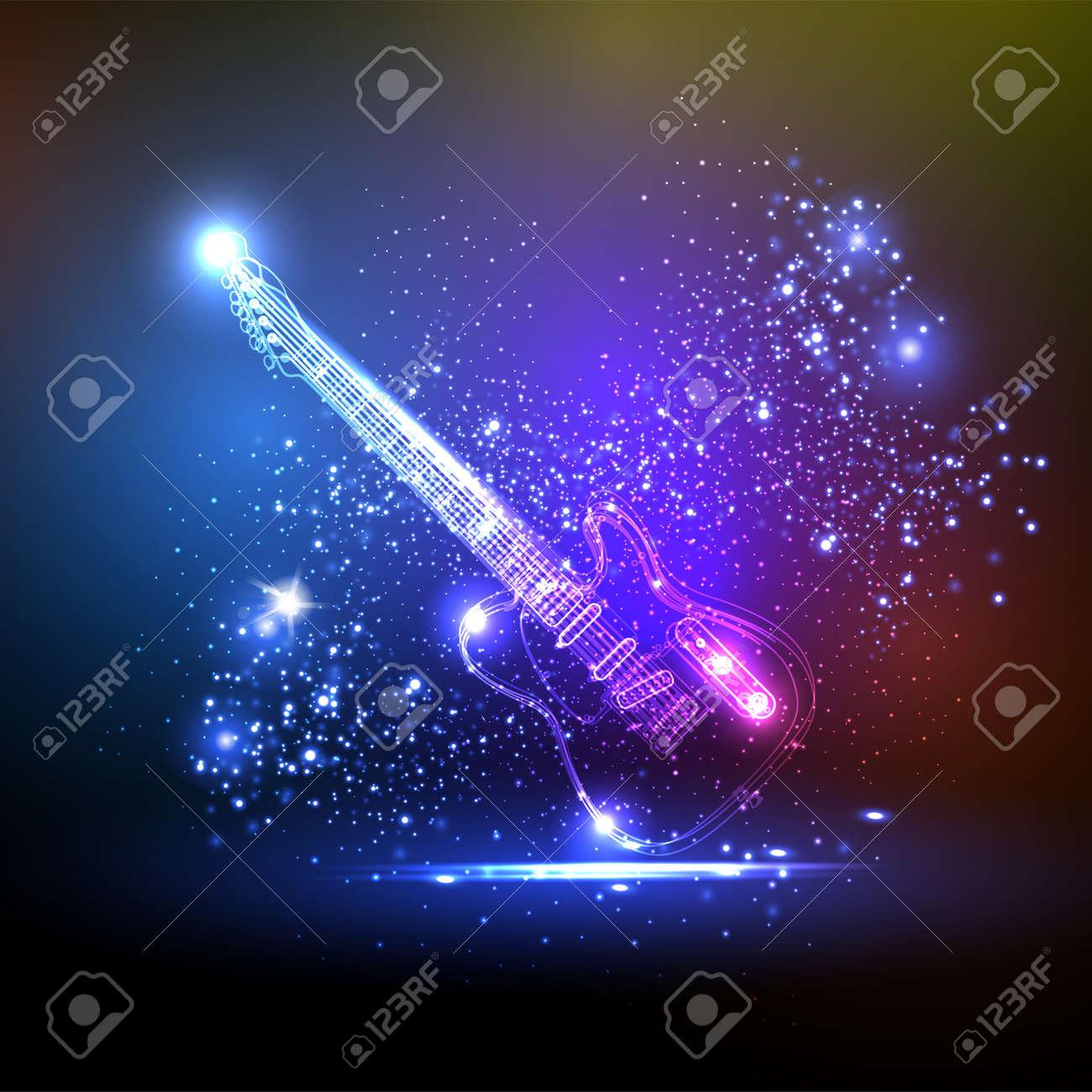 neon light guitar, grunge music - 15660374
