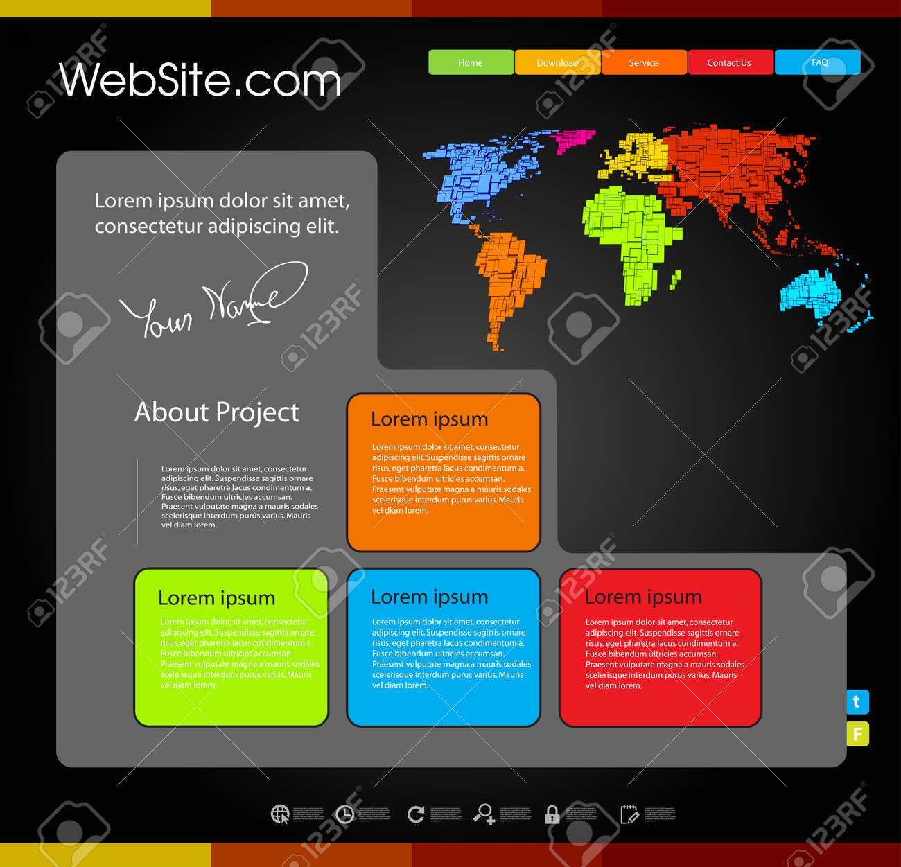 Web Design Template With World Map Easy Editable Stock Vector 17898433