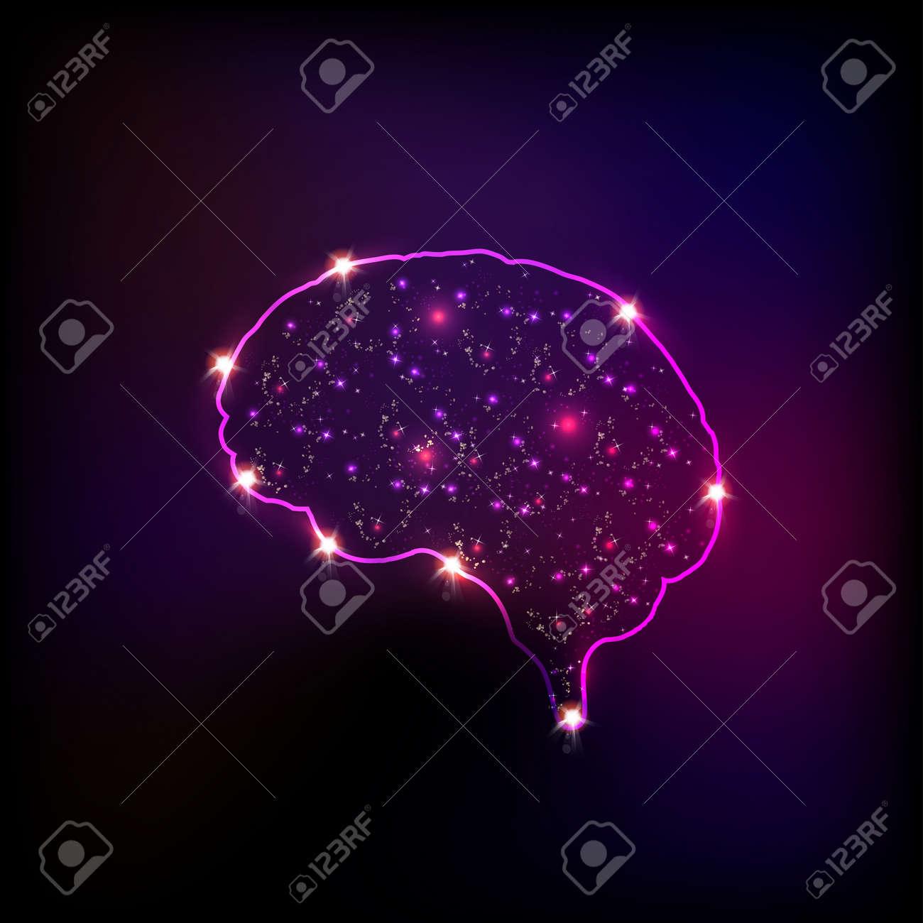 Abstract light human brain, easy editable - 35085722