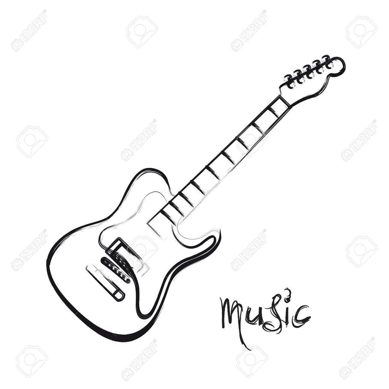 Electric Guitar Hand Drawn Easy All Editable Stock Vector