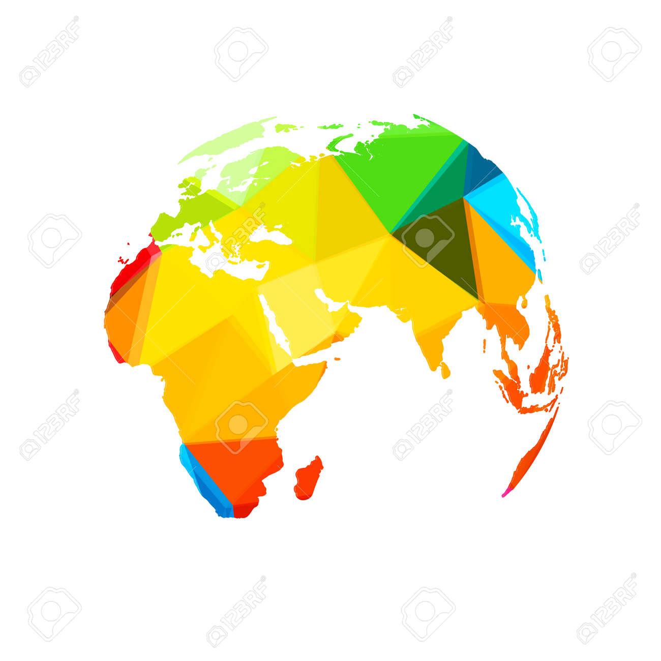 ポリゴン世界地図世界テンプレート簡単すべて編集可能のイラスト素材