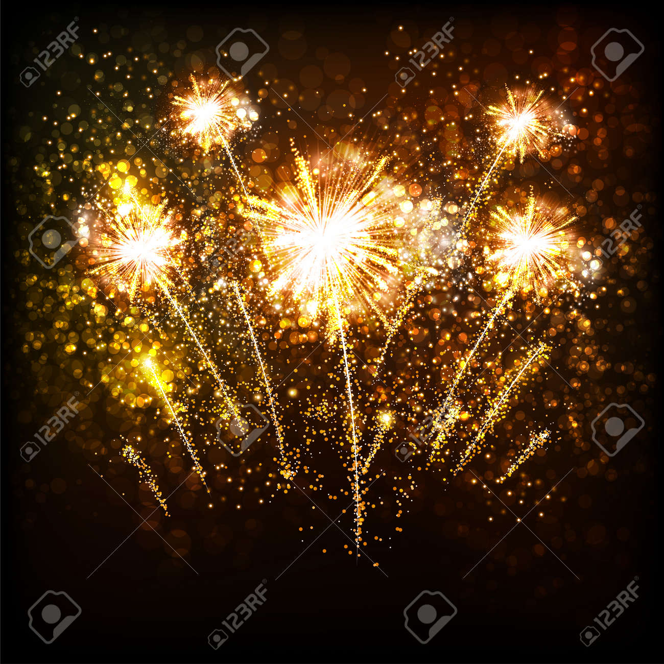happy new year with golden fireworks template design royalty free