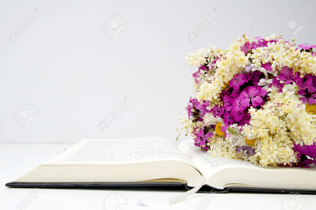 Summer Flowers Bouquet On A Open Bible Stock Photo, Picture And ...