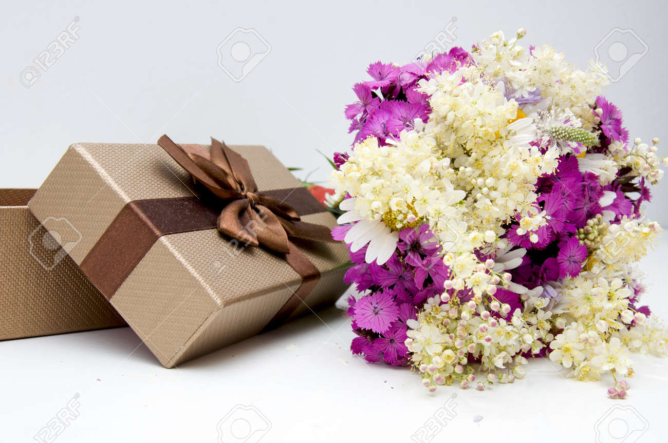 Summer Flowers Bouquet With Present Box Stock Photo, Picture And ...