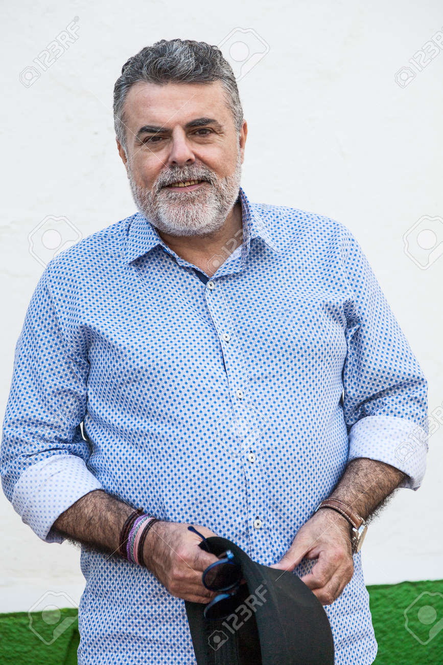 Attractive Man 50 Years Old With Beard And Hat Stock Photo Picture