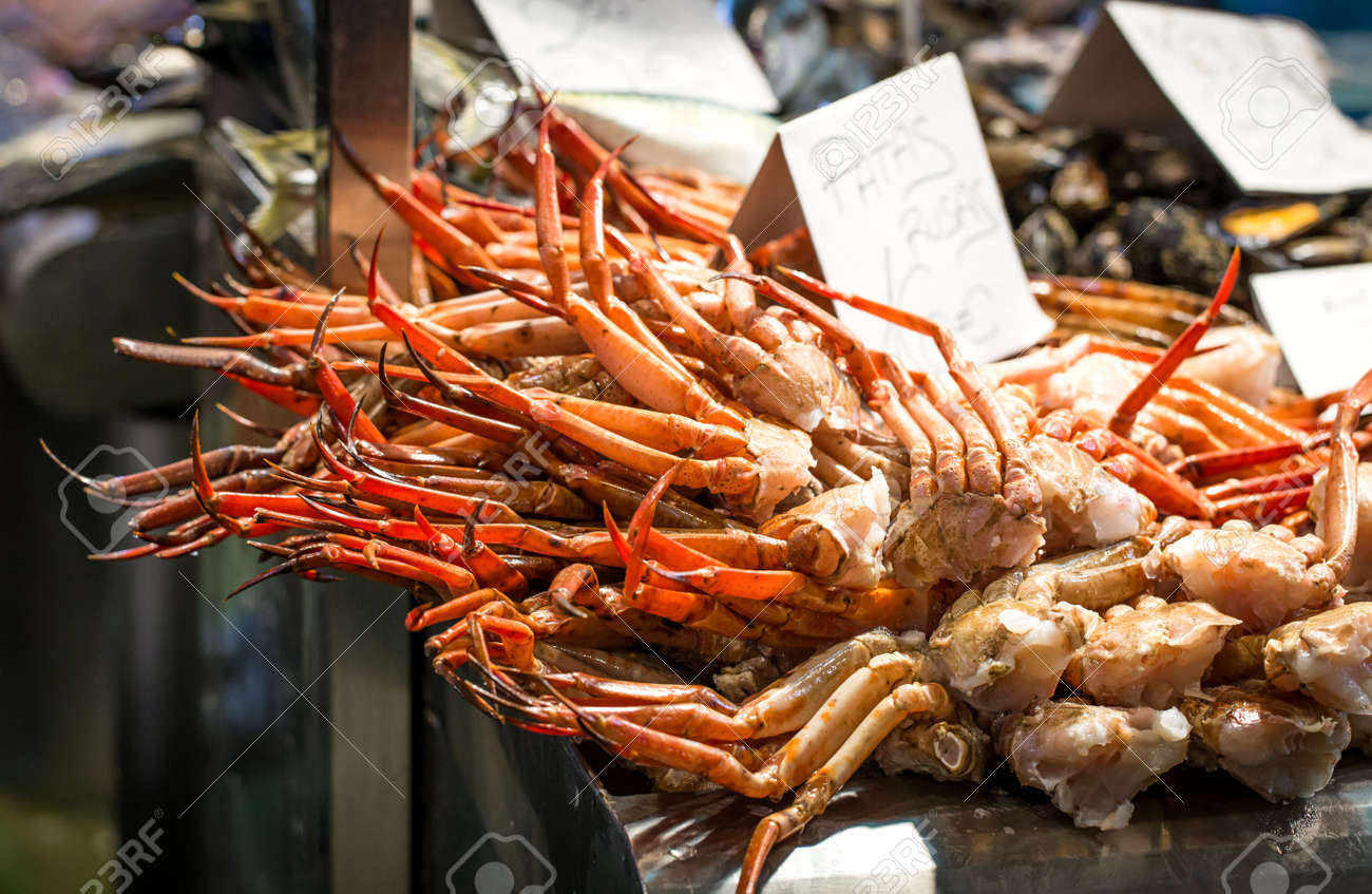 Raw Fresh Seafood Market Prices Stock ...