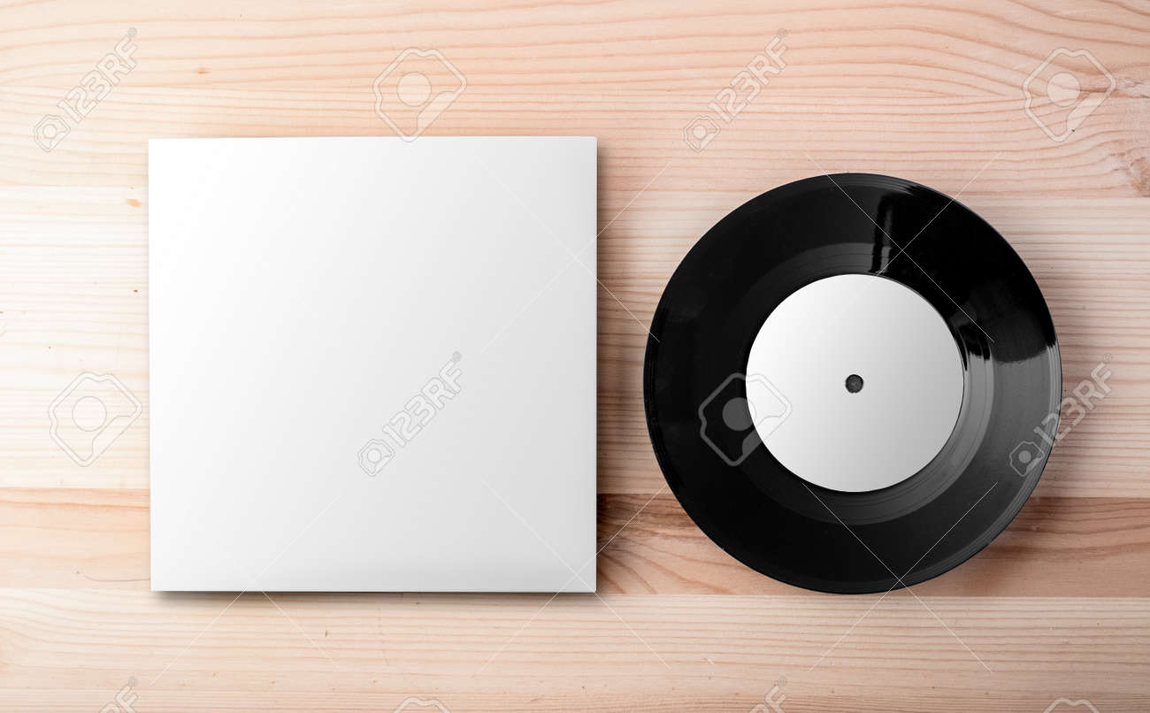 Vinyl Template | Blank Vinyl Cover Template On White Wall Background Stock Photo