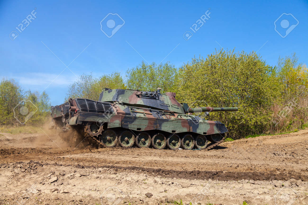 GRIMMEN / GERMANY - MAY 5: german leopard 1 a 5 tank drives on