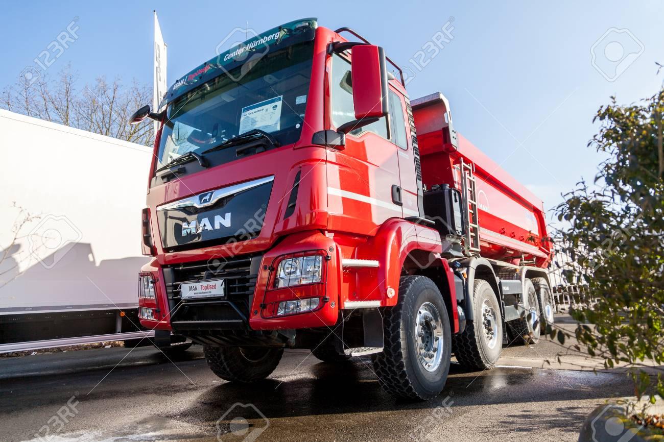 NUERNBERG / GERMANY - MARCH 4, 2018: MAN TGS 35 460 8X8 dumper
