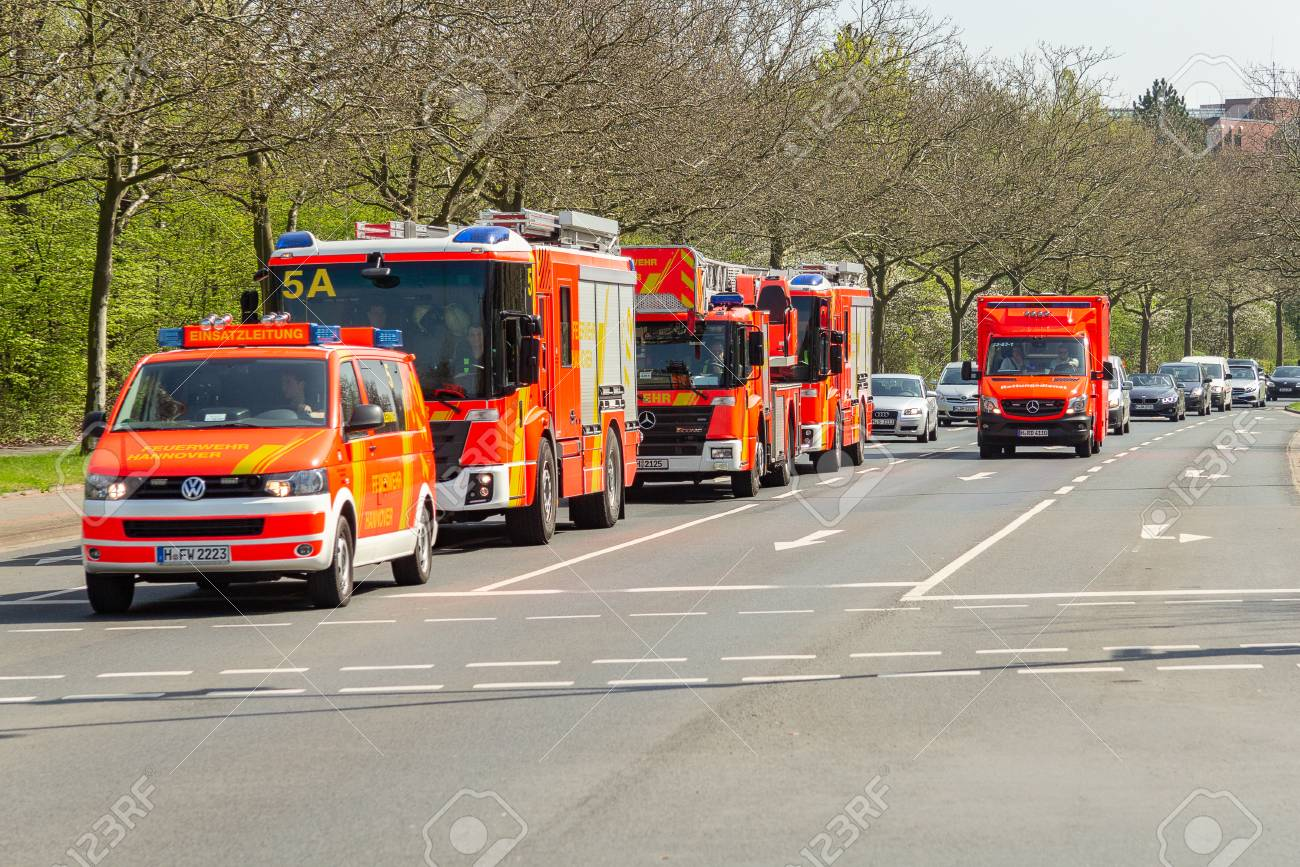 HANNOVER / GERMANY - APRIL 18, 2018: German fire service vehicles