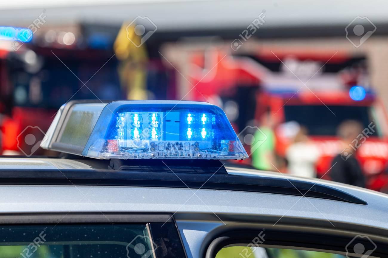 Blue Light Bar On A German Police Car