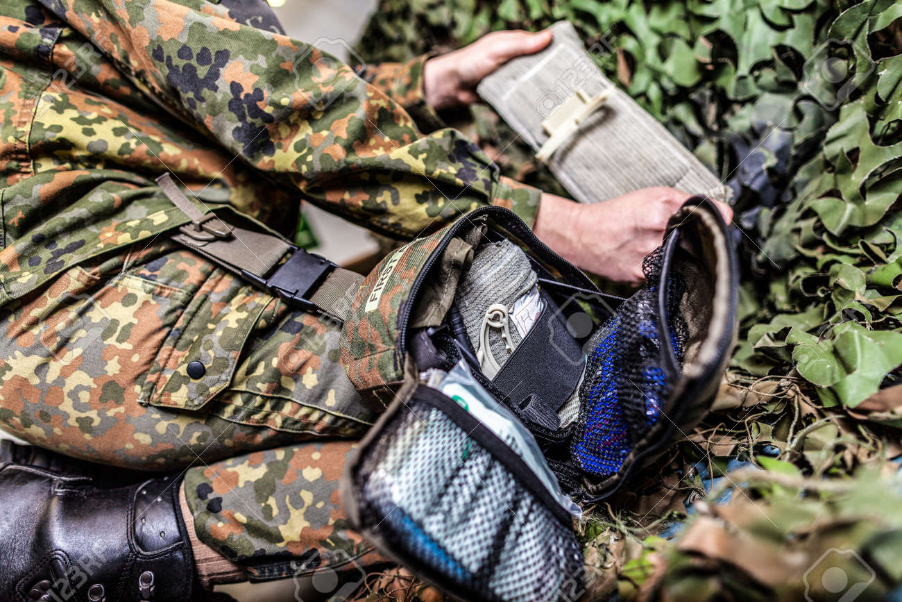 Military first aid bag on a german soldier