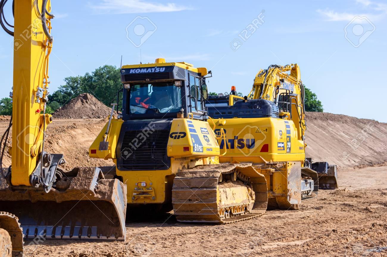 HANOVER / GERMANY - JUNE 2,2019: Komatsu excavator and other