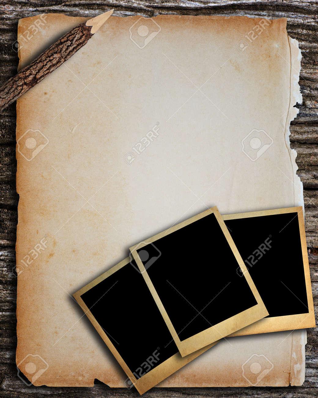 Altes Papier Und Alte Bilderrahmen Für Schreiben Und Bild ...