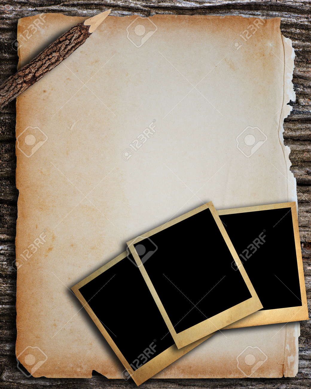 Old Paper And Old Photo Frame For Write And Put Image Stock Photo ...