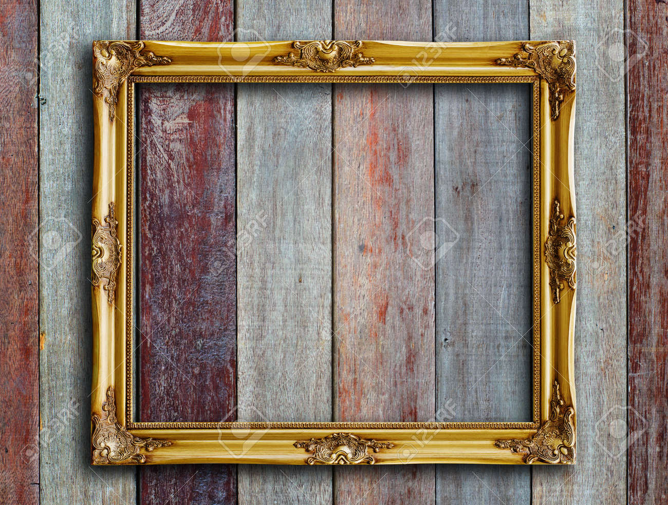 Merveilleux Old Picture Frame On Vintage Wood Wall Stock Photo   14783879