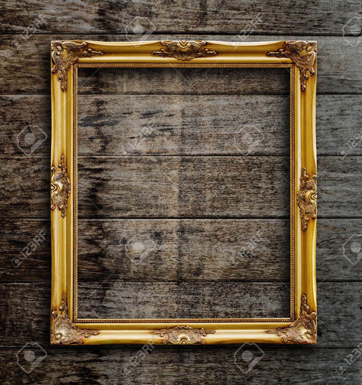 Old Picture Frame On Vintage Wood Wall Stock Photo, Picture And ...