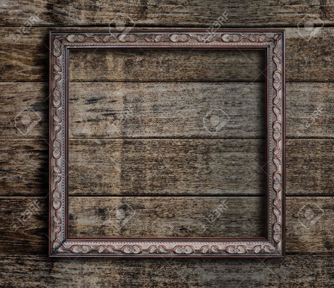 old picture frame on vintage wood wall stock photo picture and