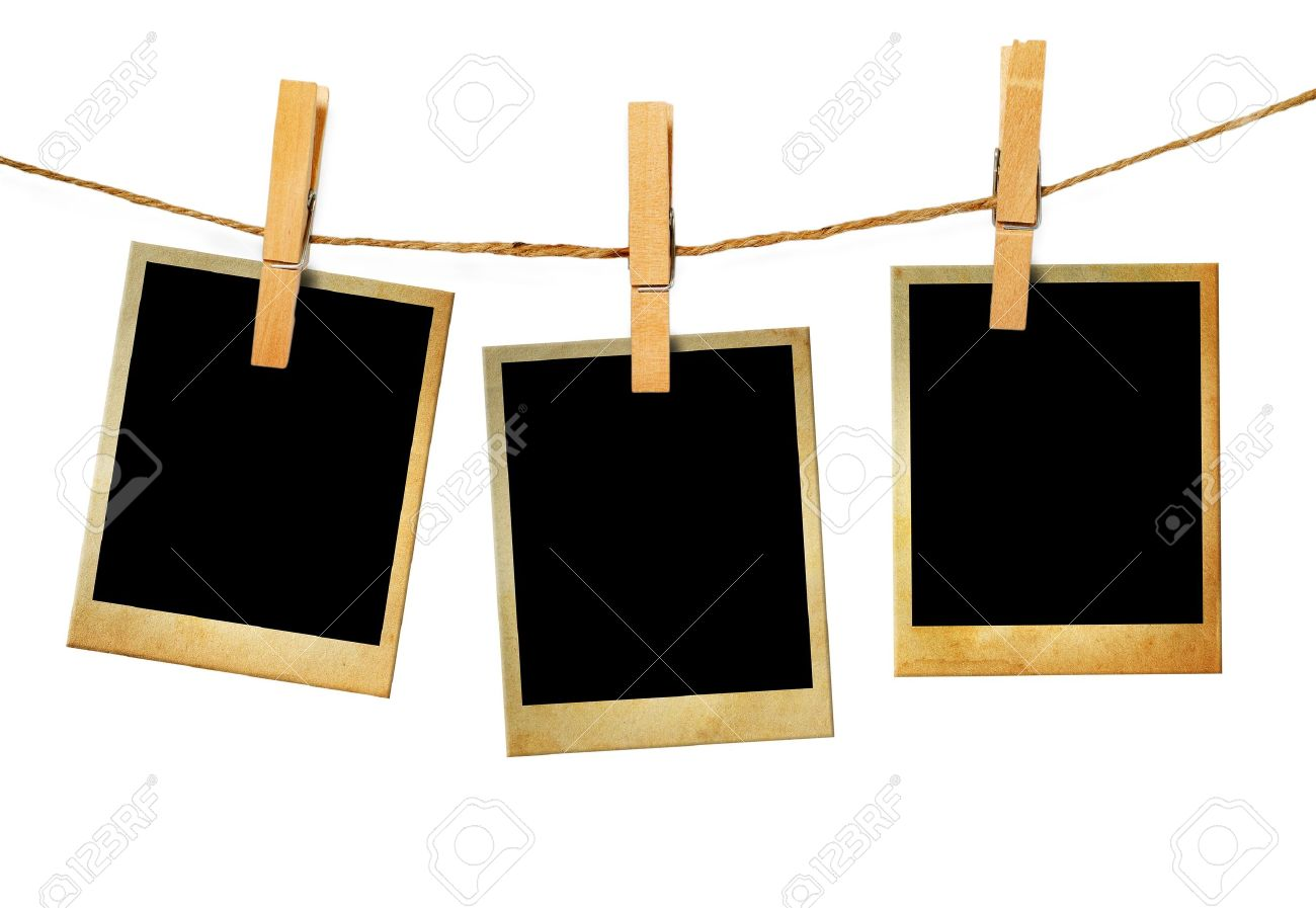 Hanging Clips: Old Picture Frame Hanging On Clothesline On Wood Background