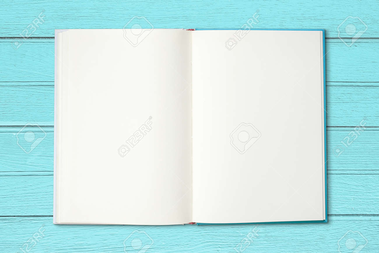 Open Blank Book On Vintage Blue Wood Background. Stock Photo ...