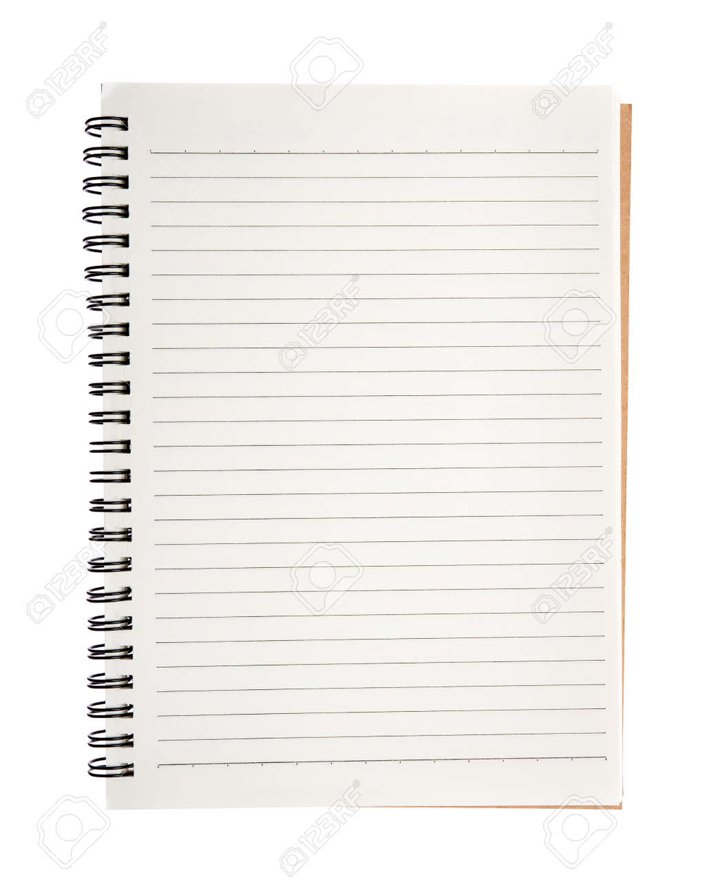 Open blank notebook isolated on white background. - 129316464
