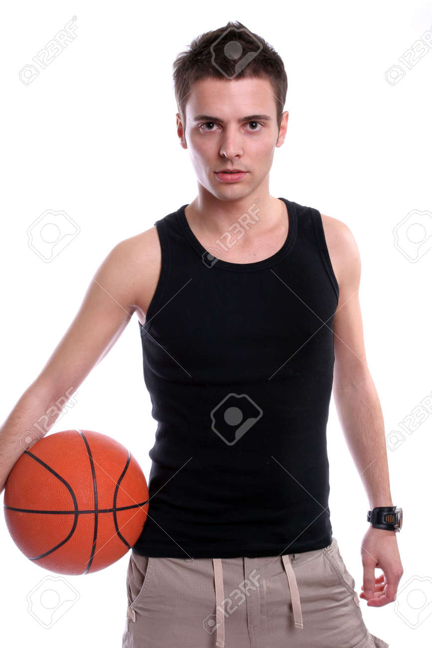 Causal man holding basketball ball, isolated on white background Stock Photo - 3092252
