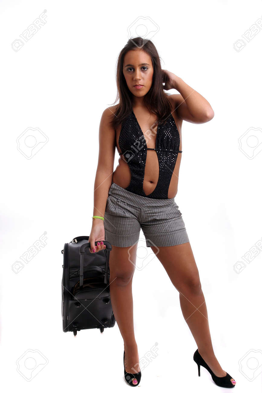 Hot Girl Going On Vacations, Isolated Over White Background Stock ...