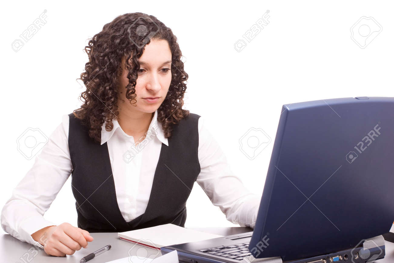 Friendly telephone operator working with laptop isolated Stock Photo - 5580723