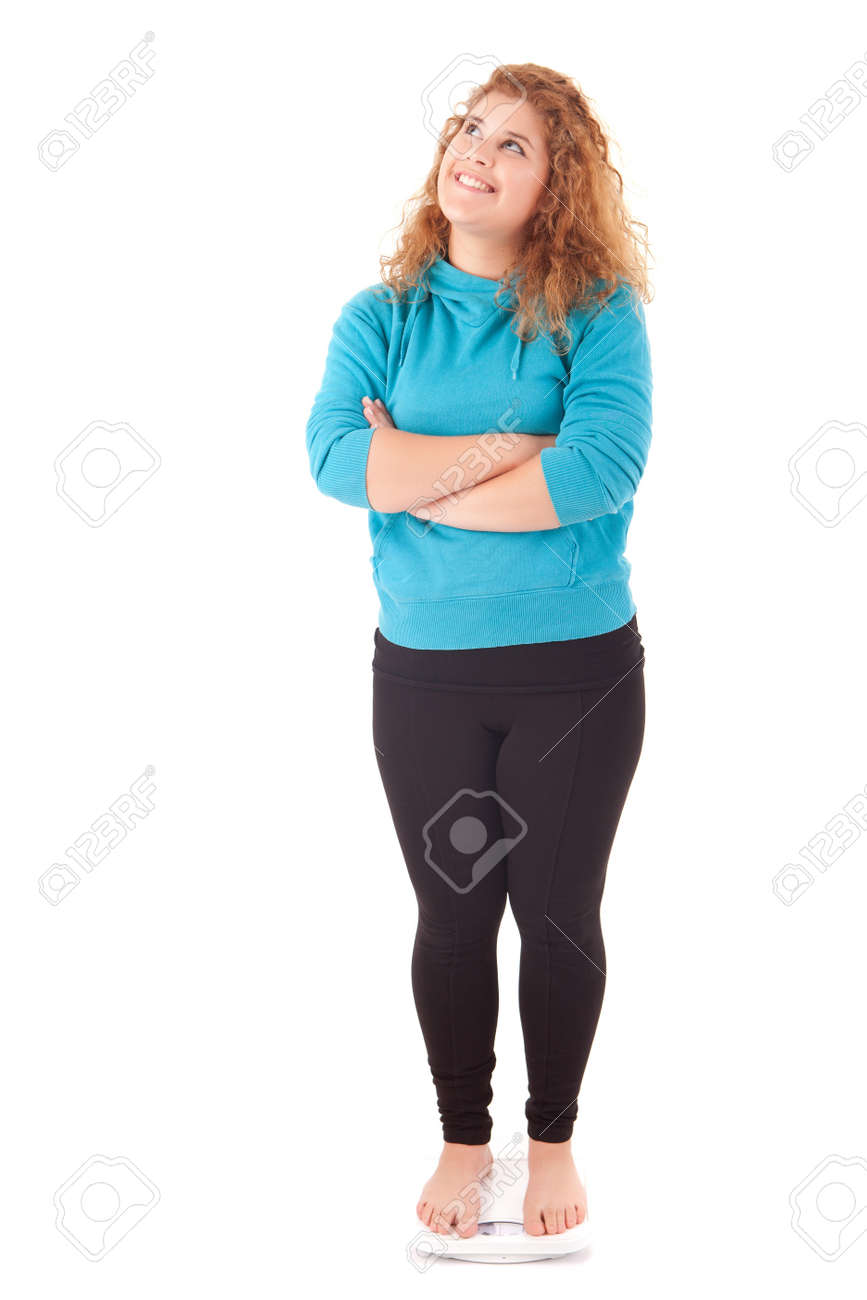 Large woman on a scale - diet concept Stock Photo - 14104333