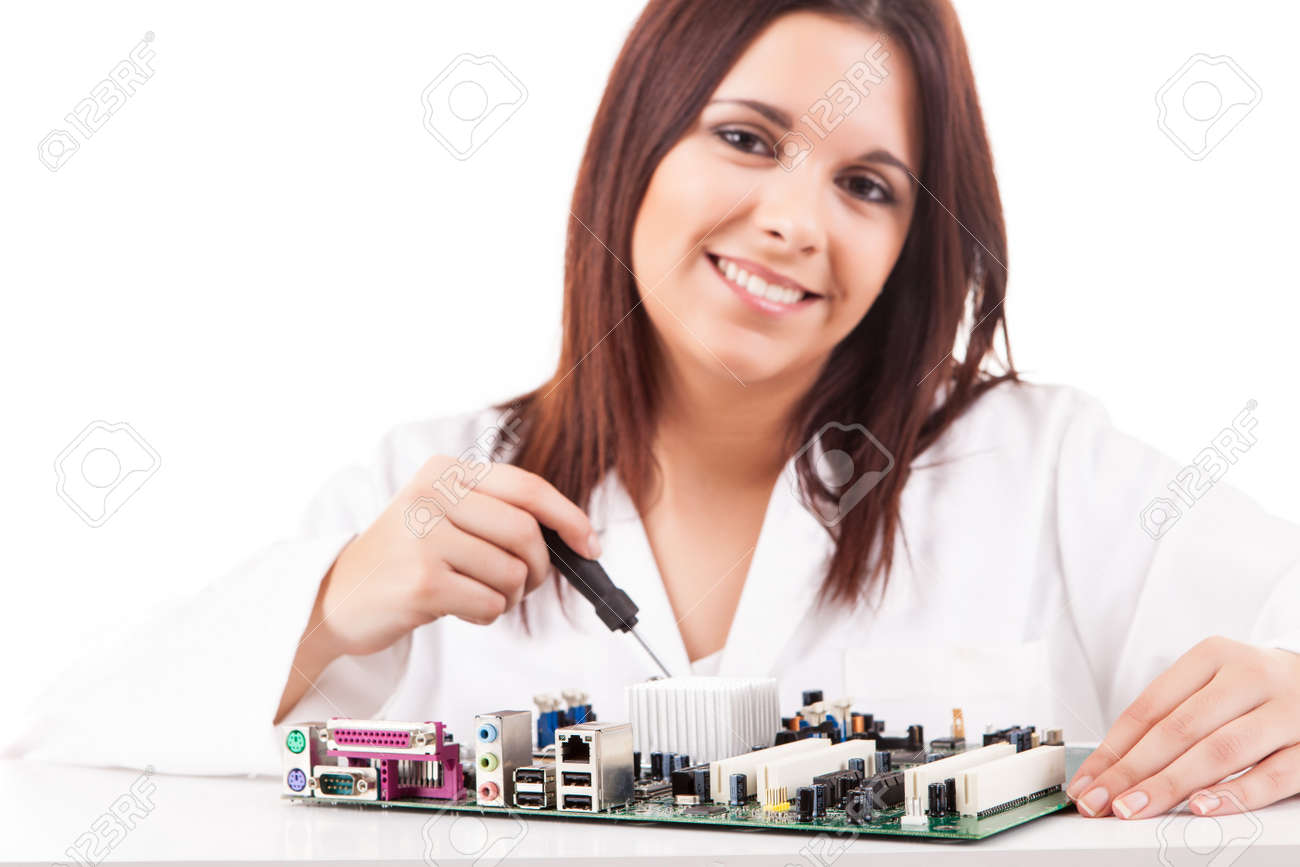 Happy and successful young computer technician Stock Photo - 17421165
