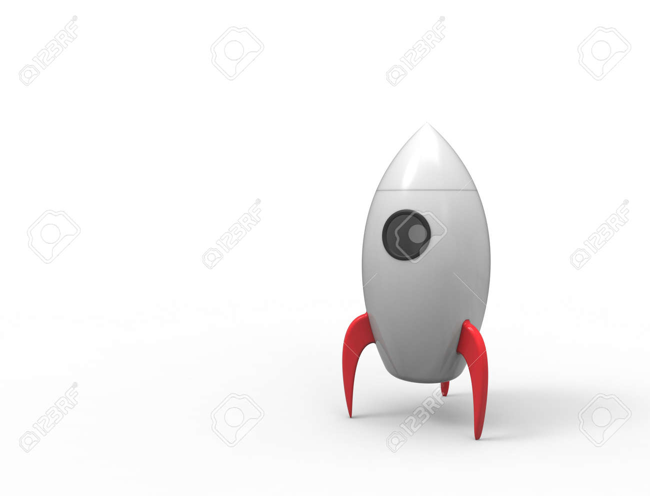 3D rendering of cartoon toy rocket ioslated on white background - 123292189