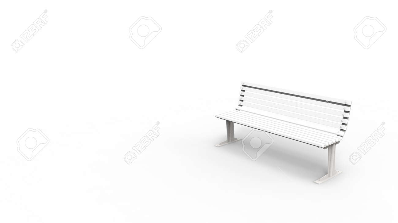 Fabulous 3D Rendering Of A White Outside Furniture Bench Isolated In White Andrewgaddart Wooden Chair Designs For Living Room Andrewgaddartcom