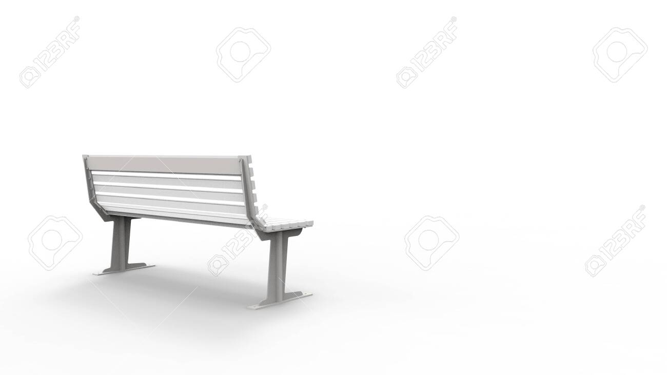 Marvelous 3D Rendering Of A White Outside Furniture Bench Isolated In White Andrewgaddart Wooden Chair Designs For Living Room Andrewgaddartcom