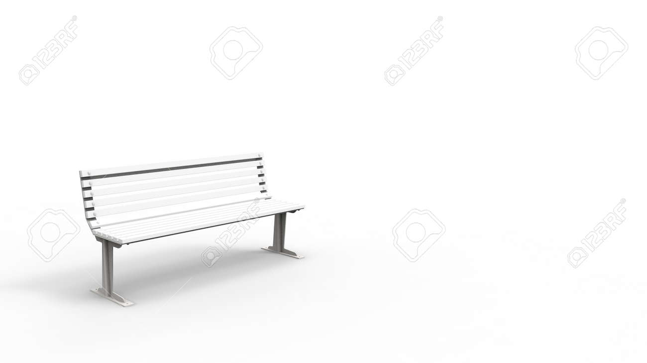 Brilliant 3D Rendering Of A White Outside Furniture Bench Isolated In White Andrewgaddart Wooden Chair Designs For Living Room Andrewgaddartcom