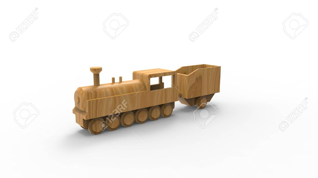 3d rendering of a wooden toy locomotive isolated in white studio..