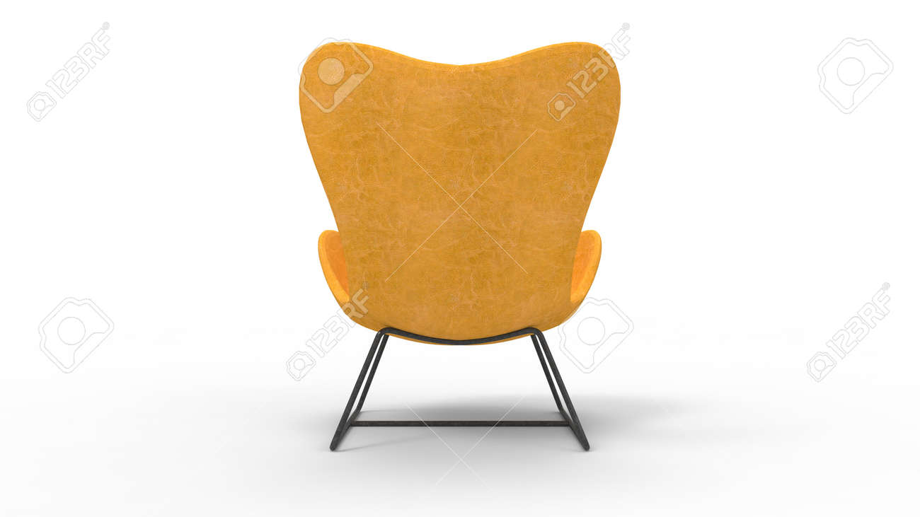 photo 3d rendering of a retro armchair furniture isolated on white background