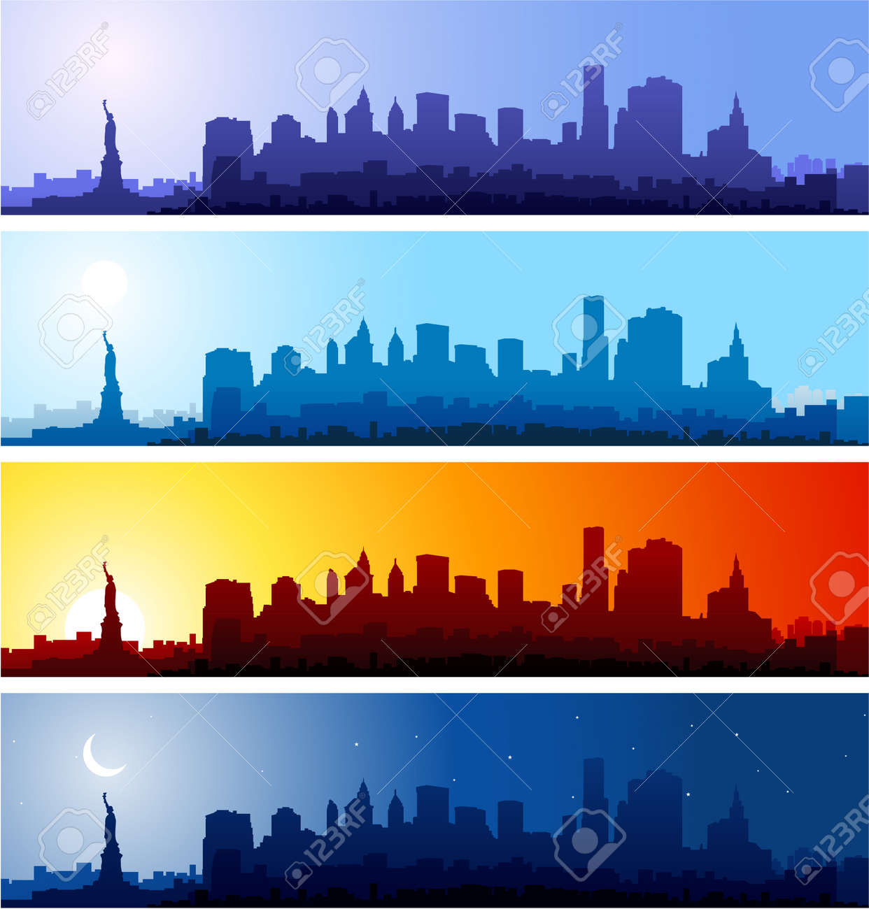 Outline athens skyline with blue buildings and copy space stock vector - Downtown Cab New York City Skyline At Different Time Of The Day
