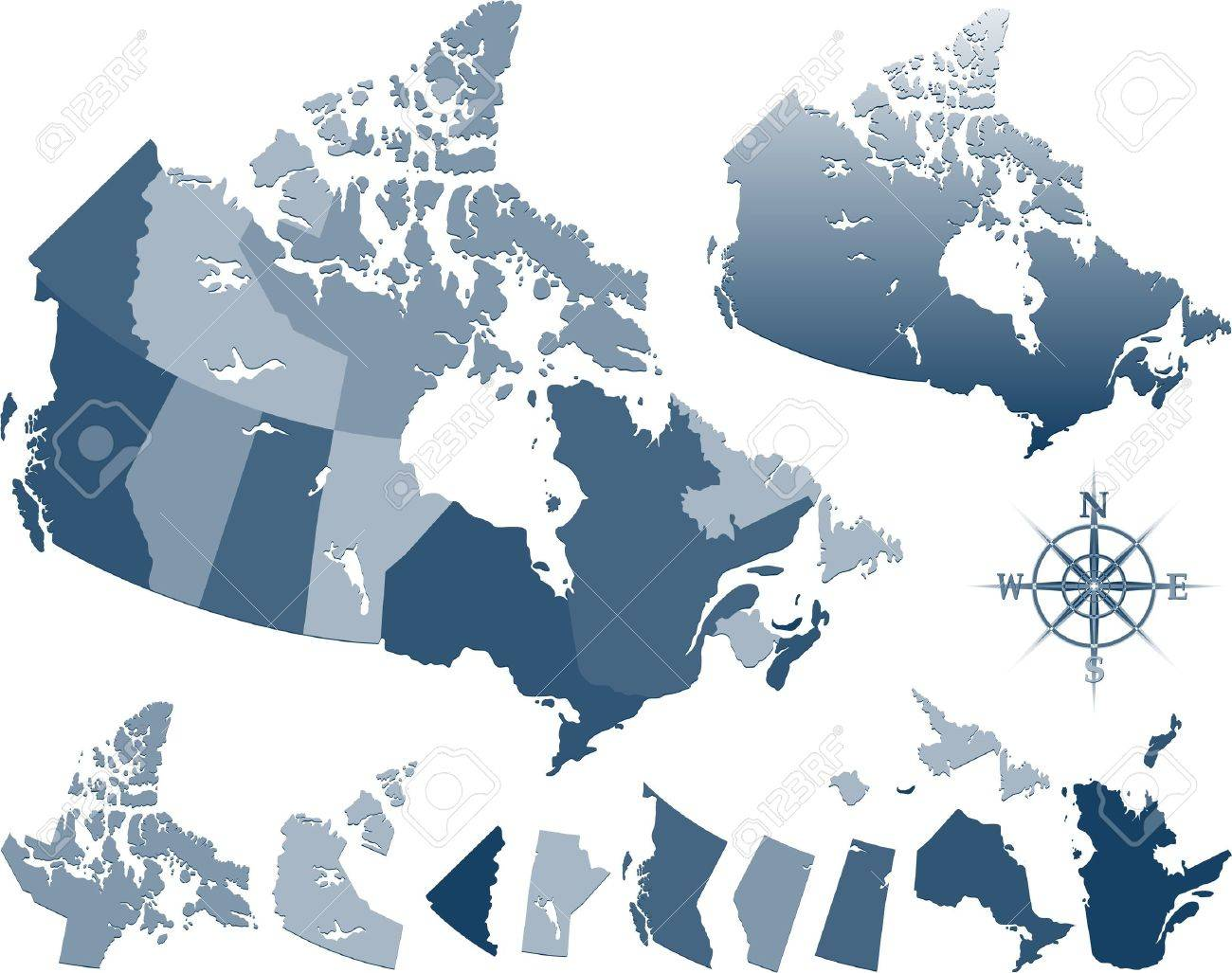 Blue Canada Map And Provinces Royalty Free Cliparts Vectors And – Map of Provinces of Canada