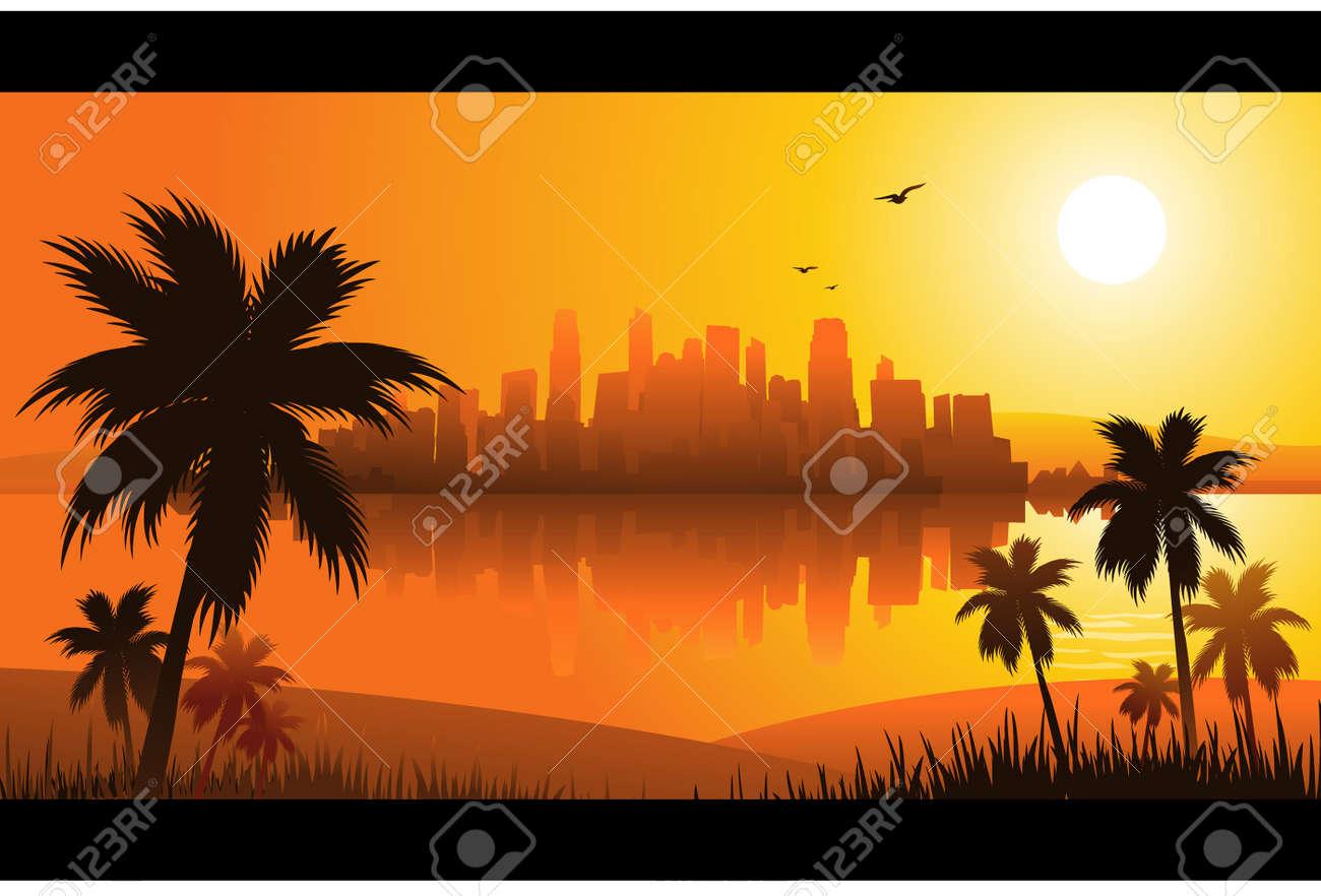 summer sunset city - 8667360