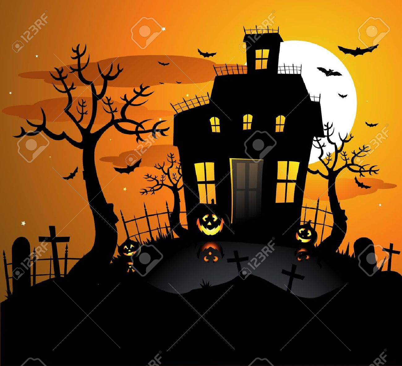 Halloween Haunted House Background Royalty Free Cliparts, Vectors ...