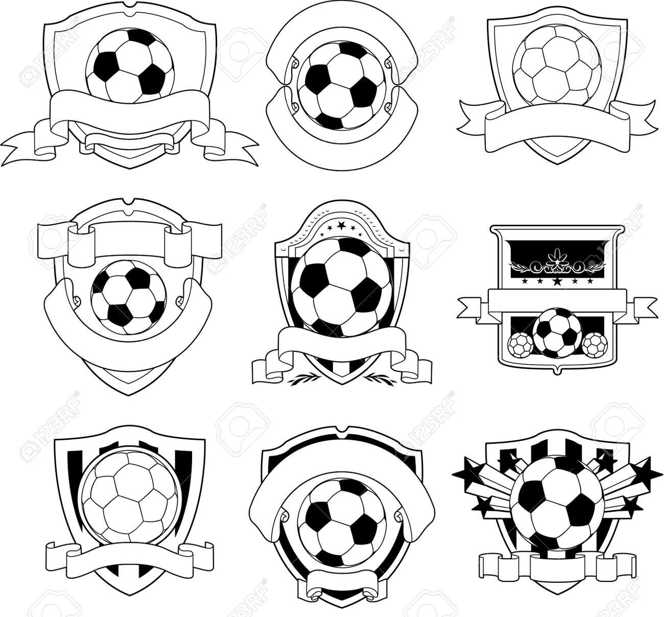 black and white soccer emblem Stock Vector - 8651640