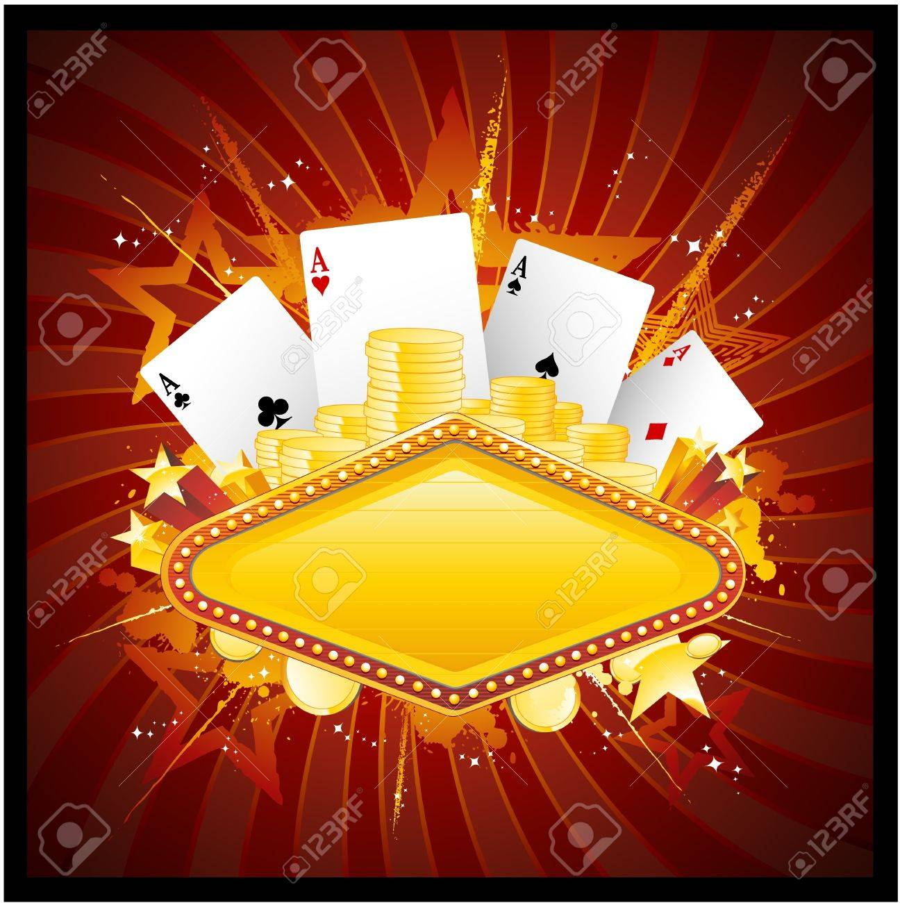 Vegas casino neon sign Stock Vector - 8651338