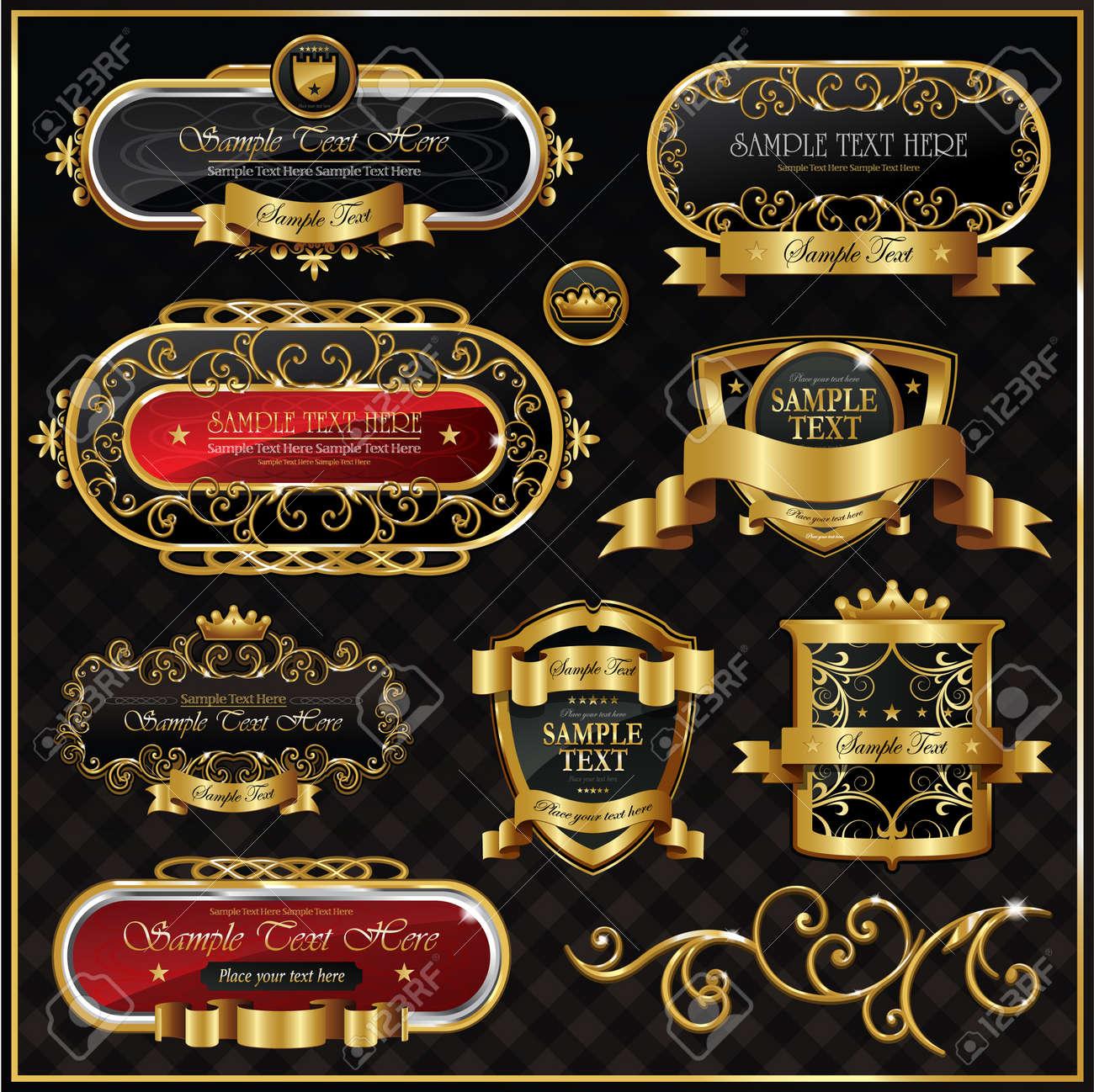 ac8f28a4a2d set  black gold framed labels Stock Vector - 8698683